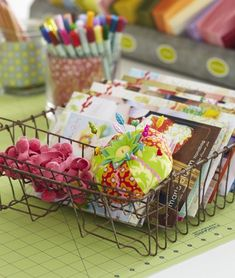 Sewing patterns file away nicely in this vintage dish drainer. Even the utensil caddy is put to good use holding ribbon and a pincushion. (Tag your best storage ideas with We'll share our faves this month on our IG! Sewing Room Storage, Sewing Room Decor, Berry Baskets, Organize Fabric, Quilting Room, Diy Craft Projects, Sewing Projects, Diy Crafts, Sewing Table