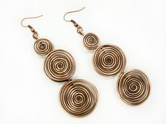 Spiral earrings copper spiral earrings by MargoHandmadeJewelry
