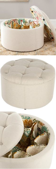 Shoe Storage Ottoman in Ivory- keep your shoes out of your closet and your roommate will love you even more