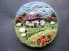 Hand Made Needle Felted Brooch  -  Meadow cottage   by Tracey Dunn