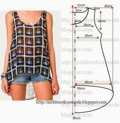 cute tank top pattern - free sewing patterns on portugese website Diy Clothing, Sewing Clothes, Clothing Patterns, Dress Patterns, Sewing Patterns, Easy Patterns, Fashion Sewing, Diy Fashion, Fashion Ideas
