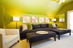one color ceiling and walls ; traditional - living room - other metro