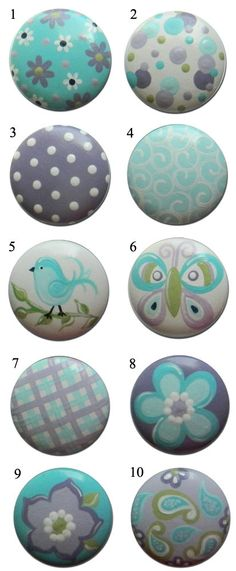 Kids Girls Teal and Lavender Butterflies Flowers Birds Drawer Knobs Nursery Cabinet Pulls by DoodlesDecor on Etsy