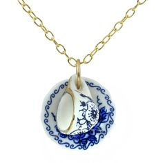 Porcelain Cup and Saucer Necklace, Vintage look, Miniature Teacup & Saucer Charm, Blue and White Floral Design, 14K Gold Filled Chain Y986