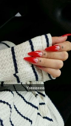 Stiletto nails with red gel :)