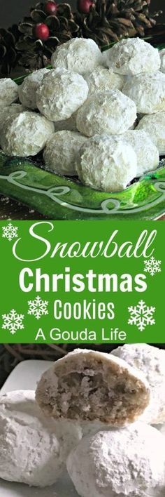 Snowball Christmas Cookies aka Russian Tea Cakes, Butterball Cookies and Mexican Wedding Cookies. Buttery, nutty, melt-in-your-mouth shortbread lightly dusted with confectioners sugar. A holiday must!