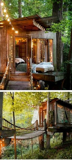 I love how cosy this tree house looks- if it is a tree house. The fairy lights look super cute, too. Beautiful http://www.investingtrader.blogspot.com/
