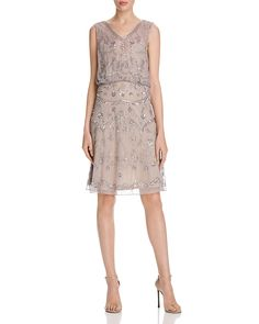 Adrianna Papell Embellished Chiffon V Neck Dress