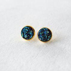 Druzy Earrings - Galaxy Stud Earrings - Sparkly Earrings - Glitter Earrings - Faux Blue Druzy Earrings