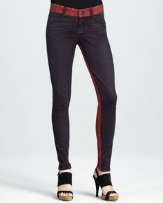 Skinny Red Tinted Colorblock Jeans by Koral at Neiman Marcus.  Hot!