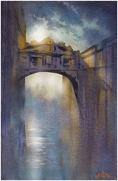 Venetian Moonlight Thomas W Schaller - Watercolor 24x15 inches - Feb. 2015