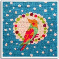 Echino Fabric by Etsuko Furuya Cockatiel Blue 1 by imaginefabric