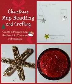 Christmas Map Reading and Crafting - Day 9 of our Christmas Science Advent Calendar. Create a treasure map that leads to Christmas craft supplies!