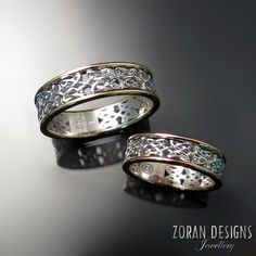 Matching HIS & HERS custom wedding bands in two tone gold with Celtic knot design.