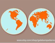 PDF counted cross stitch pattern - Set of 2 - Globe - Hemisphere map Etsy - galabornpatterns
