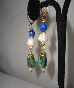 Faceted Long Emeralds Lapiz Pearl Earrings*****. by RamsesTreasure on Etsy