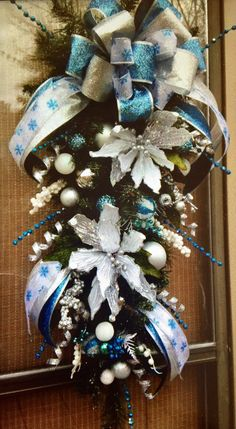 """""""AQUA 'FROZEN' CHRISTMAS-""""  33"""" Whimsical Chic Christmas Holiday Teardrop Door Swag by DecorClassicFlorals, $ 129.95 on Etsy"""