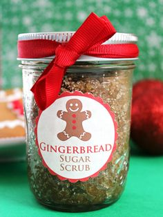 Gingerbread sugar scrub - Keep your cookie ingredients out to make this scrub—it uses cinnamon, nutmeg, ginger, vanilla, and loads of sugar. What a delicious way to exfoliate. Get the full how-to instructions at redbookmag.com and other DIY holiday gift ideas.