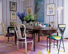 Amy Fine Collins Emilio Pucci Rug in Dining room.