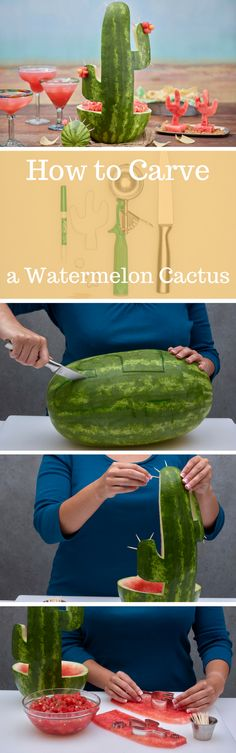 How to Carve a Watermelon Cactus Centerpiece and Salsa Bowl for Cinco de Mayo Parties Pinterest ;) | https://pinterest.com/cocinadosiempre/