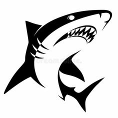 Illustration about Monochrome illustration of stylized shark isolated on white. Illustration of tattoo, symbol, terrible - 46948314 Tribal Shark, Shark Silhouette, Fox Tattoo Design, Shark Logo, Shark Tattoos, Joker Art, Great White Shark, Pyrography, Art Sketches