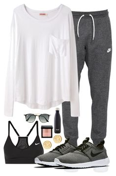 Typical Weekend Look by prep-eq ❤ liked on Polyvore featuring NIKE, Organic by John Patrick, Brooks Brothers, Bobbi Brown Cosmetics, Swell and Ray-Ban