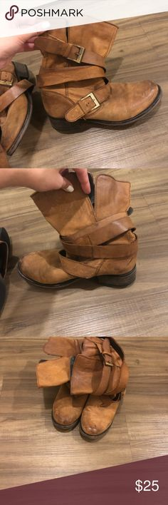 Slouchy tan boots, Steve Madden Very cute and comfy slouchy boots! Cute with jeans or even a skirt/shorts Steve Madden Shoes Combat & Moto Boots