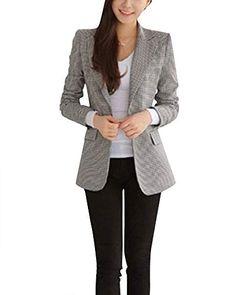 Veste De Tailleur Femme Business Blazer Court Slim Veste À Manches Longues  comme Image L e7376a32b61