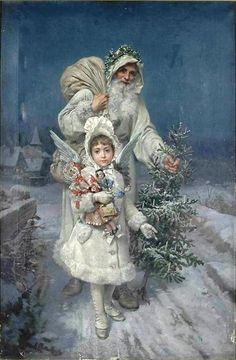 Father Christmas / White / Large sack over shoulder, holly, evergreen tree  - accompanied by Angel with gifts  Source: Old World @ Tumblr