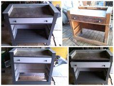 van een oude ladekast  naar een oppottafel (potting bench) voor in de tuin