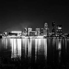 Framed Black and White Art of The Downtown Louisville Skyline. Ready-to-hang, limited-edition black and white photography of Louisville landmarks and cityscape photography. Black And White City, Black And White Pictures, White Art, Cityscape Photography, City Photography, Louisville Skyline, Louisville Kentucky, Photography Essentials, My Old Kentucky Home