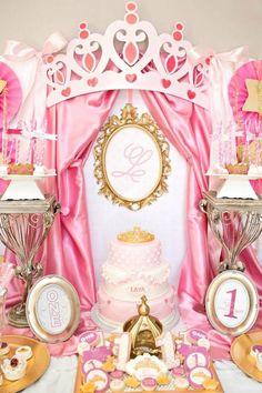 Kara's Party Ideas Royal Princess First Birthday Party Royal Princess Birthday, Princess Theme Party, Disney Princess Party, Cinderella Party, Baby Shower Princess, Pink Princess, Party Decoration, Birthday Decorations, First Birthday Parties