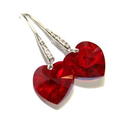 Siam Red Swarovski Heart Crystal Earrings