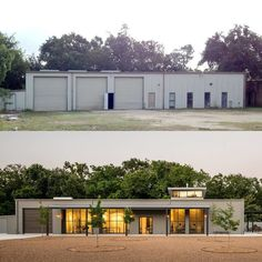 This before and after shot shows how Content Architecture turned a forgotten auto body shop into a light-filled home for an artist and engineer.