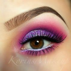 Super fun w/ the Purple shimmer with the tiny bits of Blue in it w/ the Bright Pink above it and below the eye!!!
