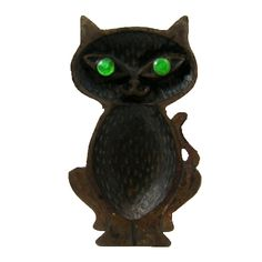 Cat with Green Eyes Cast Iron Figural Dish (made in Taiwan Republic of China)