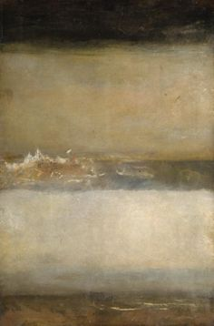 JMW Turner 'Three Seascapes' 1827 One of a group of cursory marine sketches datable to the late 1820s. The canvas bears three sketches of sea and sky, one of which was painted upside down so that one sky serves for two subjects if the canvas is turned. It is exhibited with two seascapes the right way up.