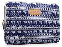 KAYOND Elephant Patterns Canvas Fabric 17 Inch for Macbook Pro Sleeve Case (17.3)