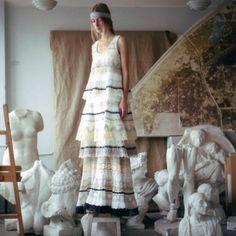 Razu Mikhina Russian White Lace Layered Dress