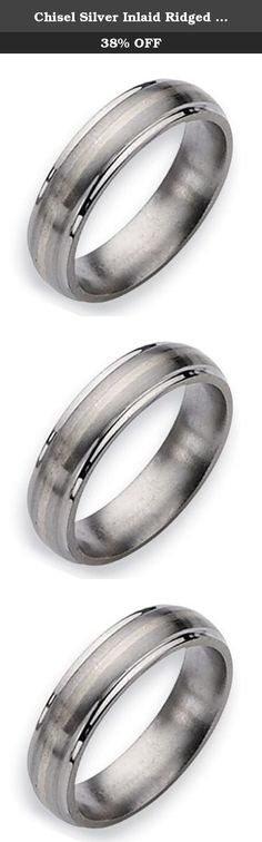 Chisel Silver Inlaid Ridged Edge Brushed and Polished Titanium Ring (6.0 mm) - Size 9.5. This Chisel Titanium Ring comes complete with a Lifetime Warranty. The warranty applies should you ever need a new size only of the same style. A deductible of 30% of original purchase price plus shipping charges applies for refurbishing costs. Should the ring no longer be sold the warranty will apply to similarly priced styles. Titanium jewelry will show scratches and this is not considered a...