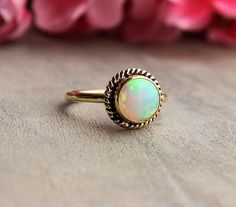 18K Gold Opal ring - Natural Opal Ring - Engagement ring - Artisan ring - October birthstone - Bezel ring - Gift for her