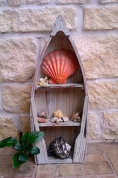 Upcycled - Nautical Home Decor - Wooden Weathered BOAT Shelf - Holder - Display - Beachy CHIC