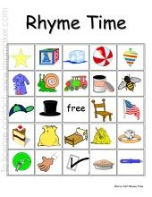 "FREE rhyming Bingo cards - 26 cards to use with your Kinders! Scroll down and click on ""Rhyming Bingo (Whole Class Set)"""