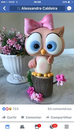 Fondant Figures, Polymer Clay Figures, Polymer Clay Animals, Polymer Clay Crafts, Owl Cake Toppers, Fondant Toppers, Fondant Cakes, Cupcake Cakes, Fruit Cakes
