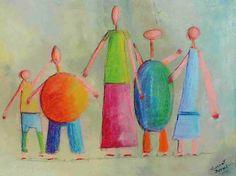 Tableau : LA FAMILLE Huile, pastels secs et gras sur toile.