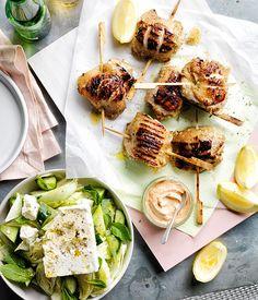 Australian Gourmet Traveller recipe for lemon-oregano chicken with tomato yoghurt and village salad.