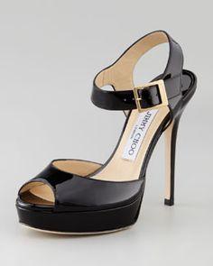 Jimmy Choo Linda Patent Ankle Strap Sandal, Black