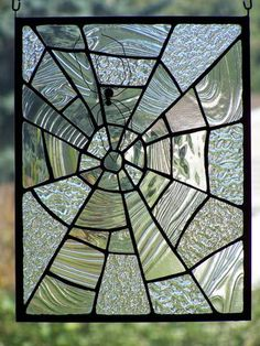 Stained Glass Textured Clear Glass Spiderweb Small Panel