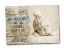 Vintage Wood Birth Baby Announcement -- simple & sweet