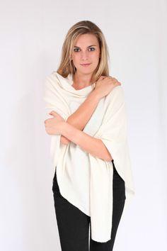 Winter White Cashmere Poncho